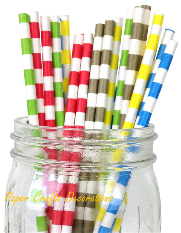 150pcs/lot (pack of 25) Colorful Rugby Striped Eco Paper Straws Kids Parties Favors 233 Designs Free Shipping(China (Mainland))