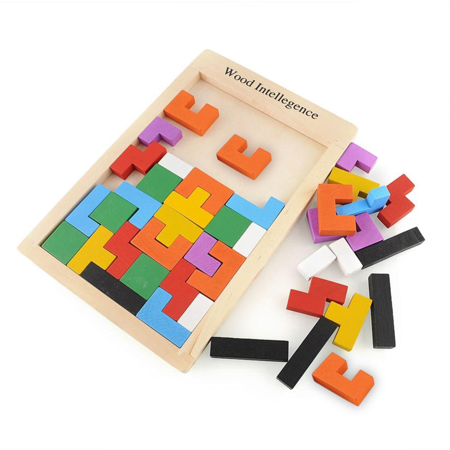 Wooden Tangram Brain Teaser Puzzle Toys Tetris Game Educational Toy Baby Kids Colorful Toys Free shipping Free shipping(China (Mainland))