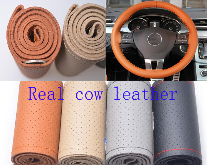 Real Genuine Leather unviersal size 4 Colors Steering Wheel Cover decorative new year gift Free shipping(China (Mainland))