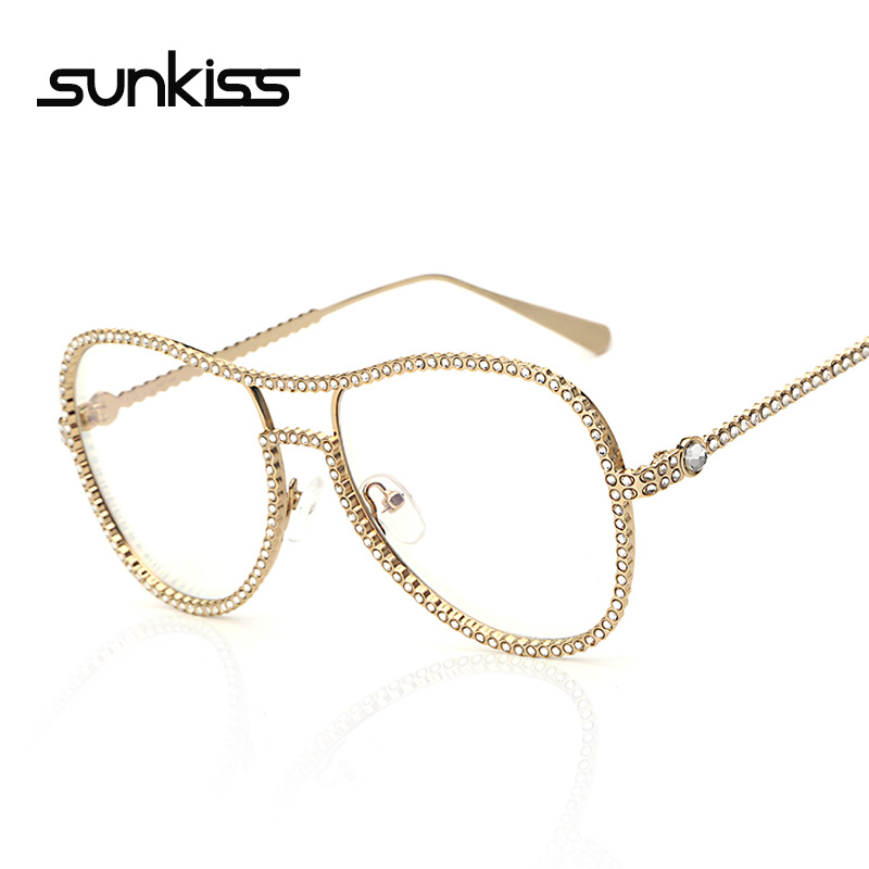 SUNKISS High Quality Large Frame Dimond Eyewear Frames Sunglasses Women Twin-Beams Women Optical Eyeglasses Gold Glasses Frames(China (Mainland))