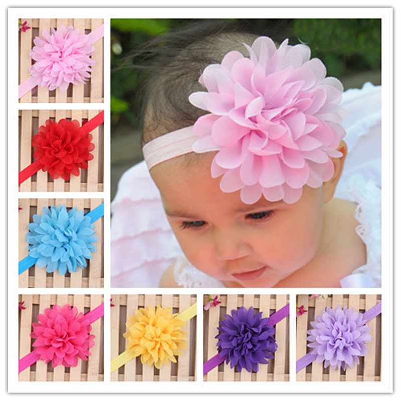 2016 New Cute Girl Big Flower Headband Kids Soft Comfortable Hair Bows Floral Elastic Hairband Infant Baby Rose Hair Accessories(China (Mainland))