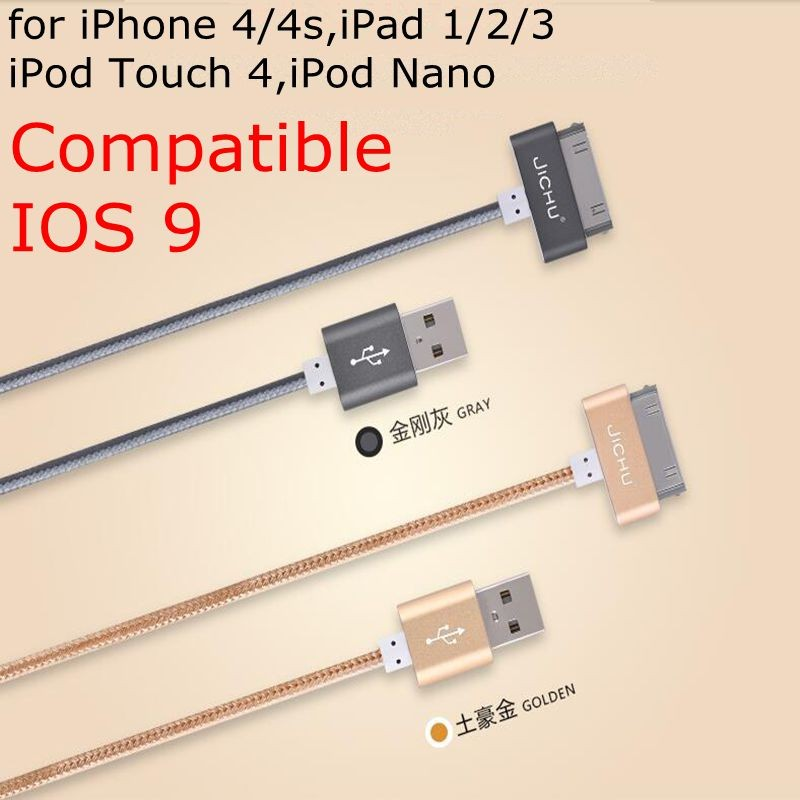Promotion MFI 30 Pin Cable for iPhone 4 4S Charger Cable Nylon Braided 1M 1.5M 150CM 100CM 2A Compatible IOS 9