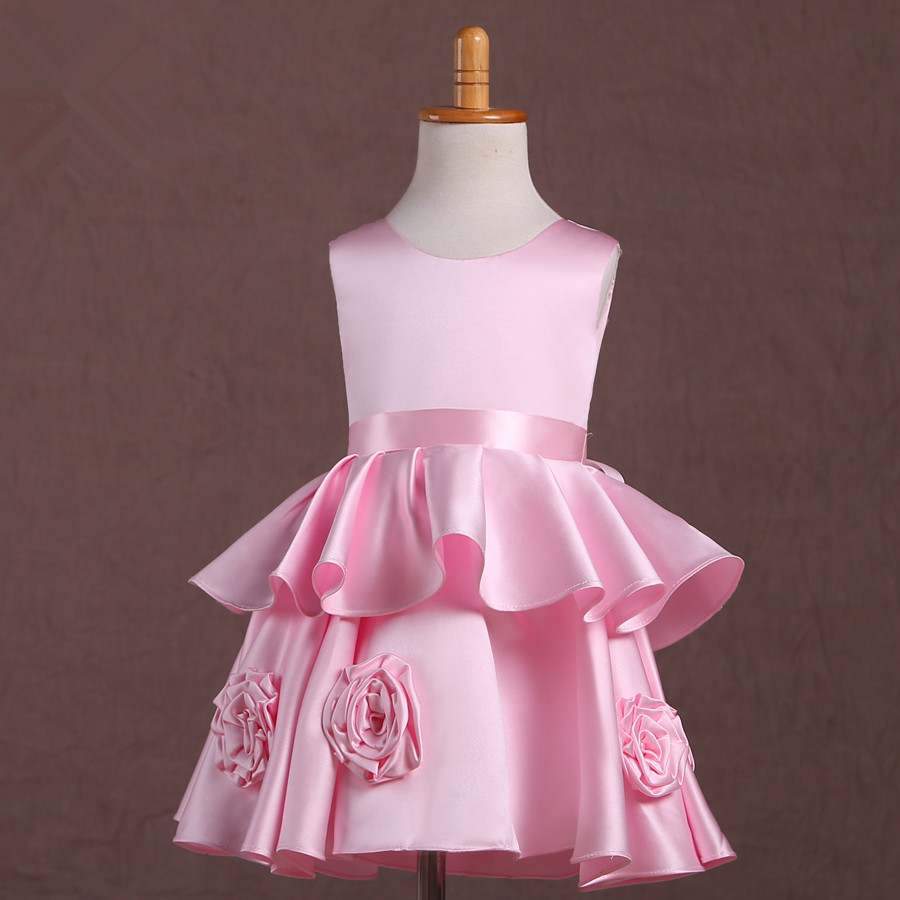New design girls bridesmaid dresses elegant pink kids frock designs flower girls dresses for party and wedding GD0070<br><br>Aliexpress