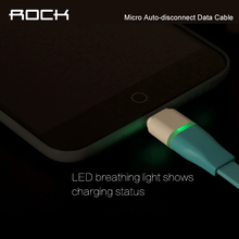 ROCK Original Auto-disconnect Data Cable Sync USB Cable For Micro Android Intelligent Control Chip 1m LED phone Cable Line H02