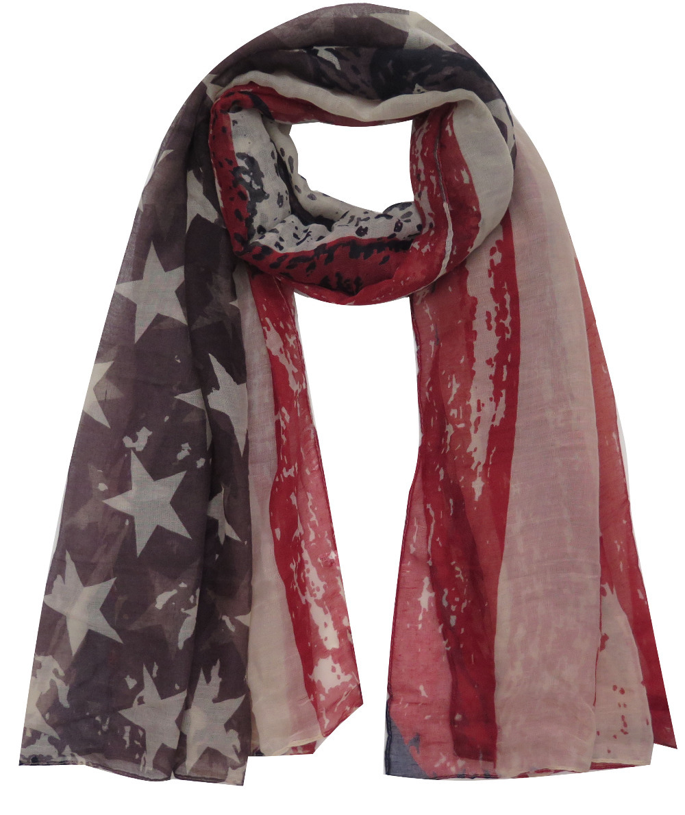 American Flag and Skull Stripe Star Print Women's Large Scarf Shawl Wrap Accessory, Free Shipping(China (Mainland))