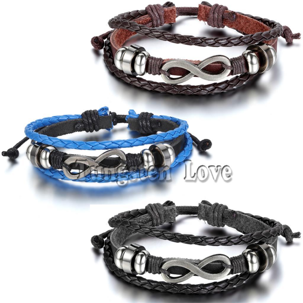 Adjustable Vintage Love Infinity Charm Multilayer Leather Bracelet Wholesale Cuff braided Wrap Bracelet pulseira de couro(China (Mainland))