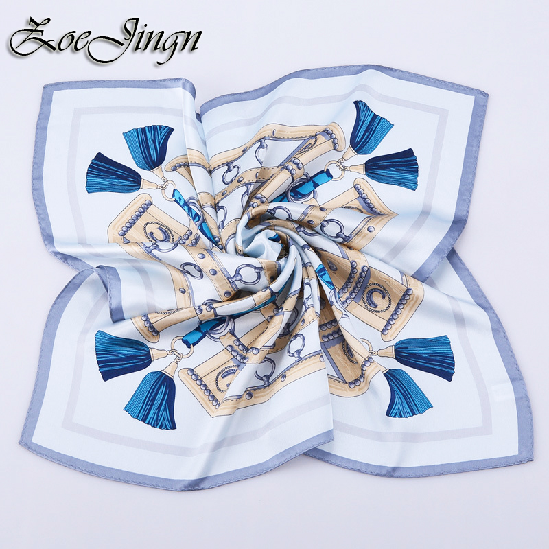 2016 53*53 CM Tassels Print 100% Real Silk Square Scarves For Women Brand Twilly Tie Head Scarf On Summer(China (Mainland))