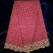 PCL12-2 Gorgeous African Cotton Textiles Lace Fabric Latest African Laces In Wine Lowest Price Free Shipping(China (Mainland))