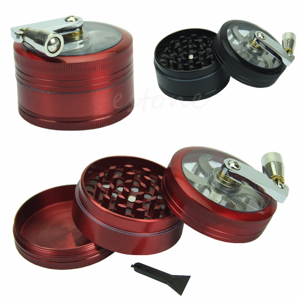 C73 Free Shipping Zinc Alloy Hand Crank Herb Spice Crusher Muller Mill Tobacco Grinder 2 2