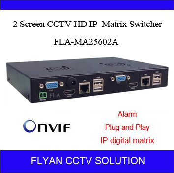 High Quality 2 Screen CCTV IP video Matrix switcher Small Linux design IP PTZ remote control onvif HDMI VGA Output Play and Play(China (Mainland))