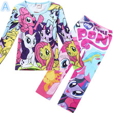 My little pony clothes girls clothing sets suits kids pajamas children 2 piece sleepwear home fashion 3~8 year ACTZ004(China (Mainland))