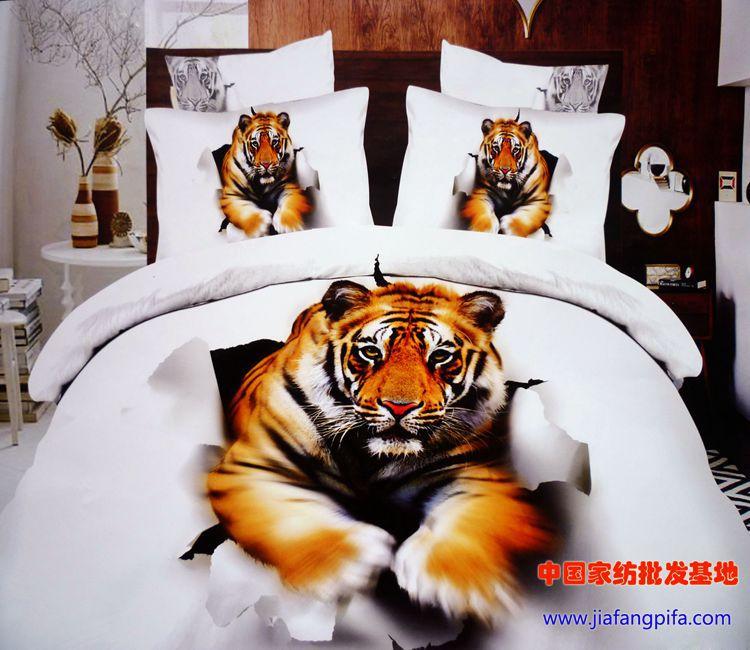 3d wei en tiger animal print bettw sche tr ster queen size bettbezug tagesdecke blatt bett in. Black Bedroom Furniture Sets. Home Design Ideas