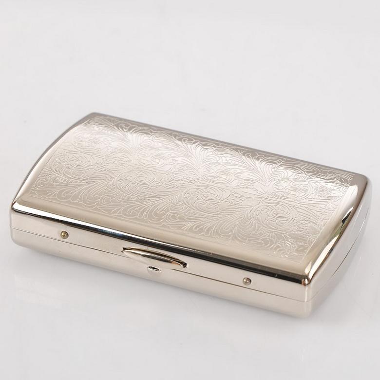 Silvery White Copper Cigarette Box Lines Metal Cigarette Case Holder Box For 12 Cigarettes 1Set Gift(China (Mainland))