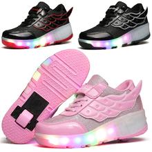 2016 Llegaban Nuevos Niños Heelys zapatos Niñas niños Wing Led Luz Zapatillas de Deporte Zapatos Con Ruedas, Niños Zapatos Del Patín De Ruedas(China (Mainland))