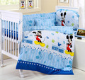 Promotion 10PCS Mickey Mouse 100 cotton baby bedding crib set for baby cute pattern bumper matress