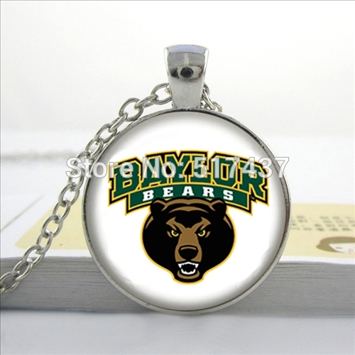 2016 New Chicago Bears Necklace Baylor Bears Pendant Basketball Team Jewelry Glass Dome Pendant Necklace(China (Mainland))