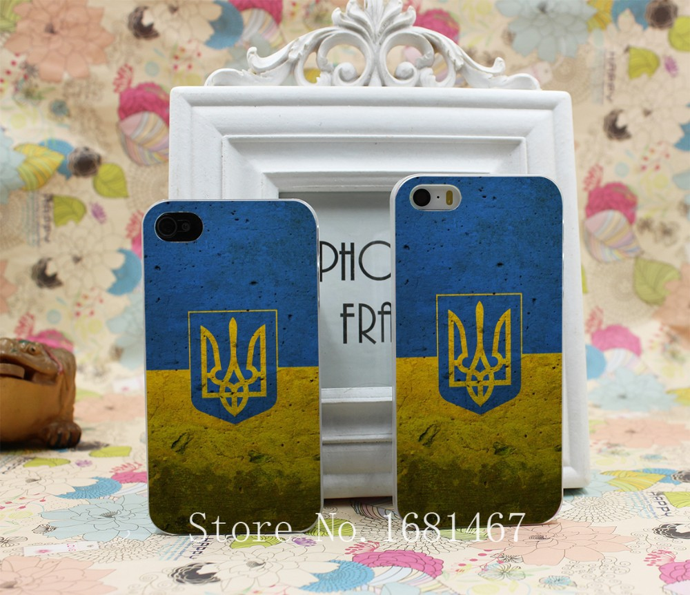 grunge Retro Ukraine National Flag presidential Hard Clear Skin Case Cover for iPhone 4 4s 7 7 Plus 5 5s 5g 1PC