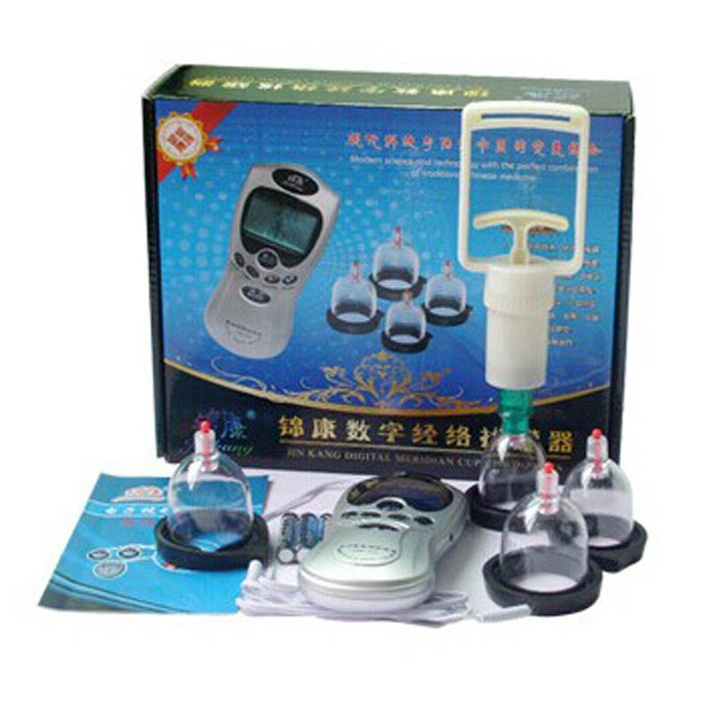 FREE SHIPPING Electronical Vacuum Cupping Set with Digital Acupuncture Therapy Machine for Body Suction & Health Massage(China (Mainland))
