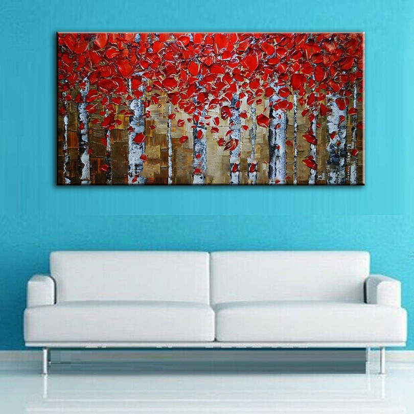 Buy hand painted oil painting Home decoration high quality canvas landscape knife painting pictures cheap