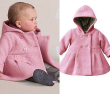 2015 New Baby Toddler Girls Fall Winter Horn Button Hooded Pea Coat Outerwear Jacket free Shipping