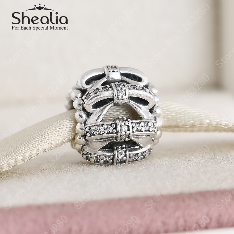 2015 Winter Christmas Gift 925 Sterling Silver Pave CZ Openwork Bowknot Ball Charms Women Bracelets Fine Jewelry DIY Accessories