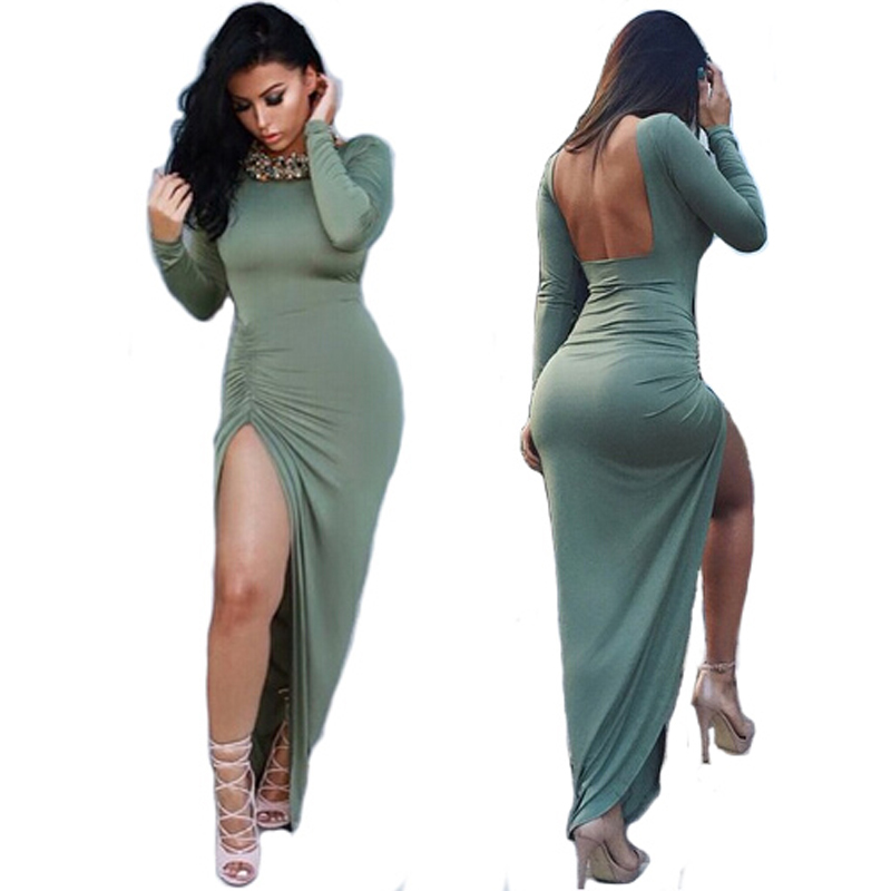 2016 Women Long Maxi Dress Winter Sleeve Warm Black Open Fork Bandage Backless Blue Bodycon Club Sexy Party Dresses - L&P Fashion CO.,Ltd. store