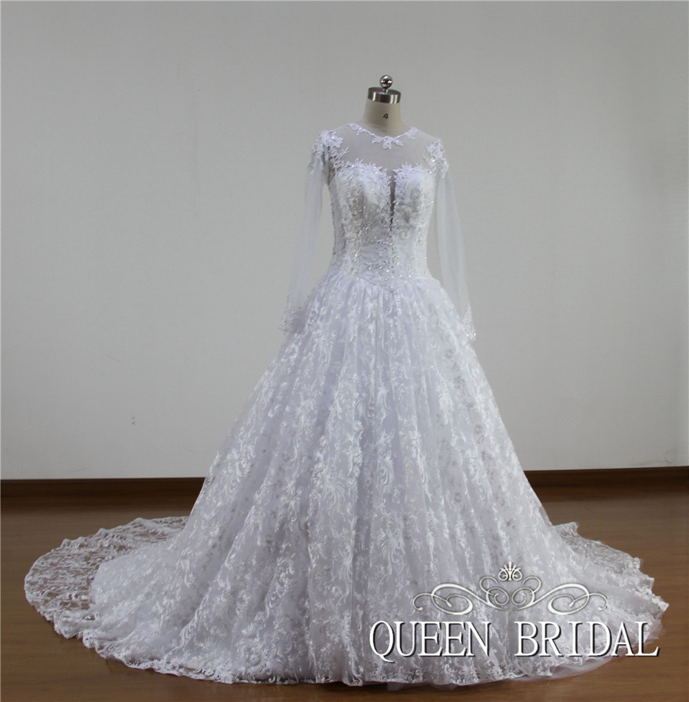 White tulle ball gown wedding dress lace long sleeve long for Tulle wedding dress with sleeves