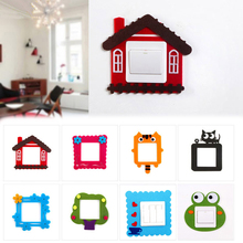 2015 Newly Arrival Cartoon Felt Hollow Creative Switch Stickers Wall Stickers   Free Sticky Switch  Sets HG-1732(China (Mainland))