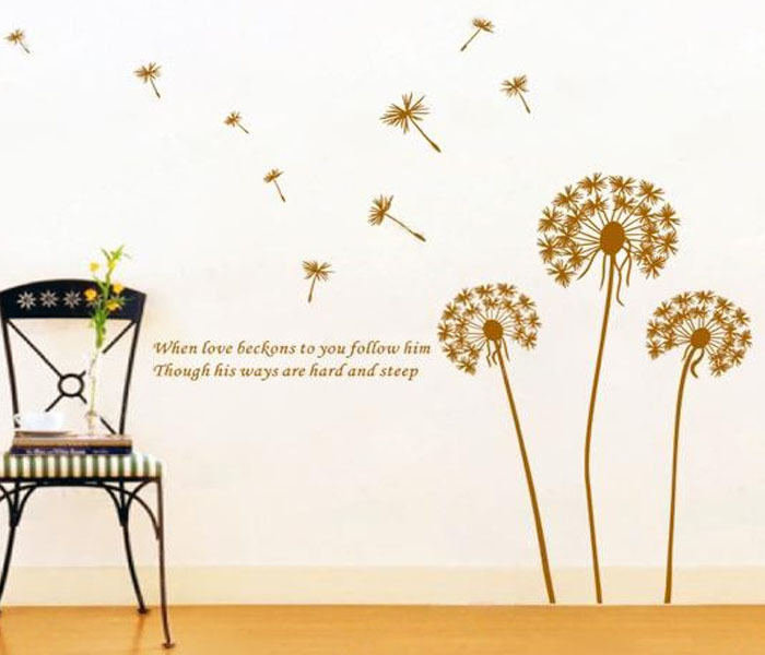 Love Flying Dandelion Wall Stickers Inspirational Quotes Love Nursery Wall  Decals Removable Art Vinyl Decal Room Home Decor