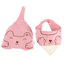 عالية الجودة لطيف 2 قطعة/مجموعة طفل الفتيان الفتيات الكرتون الدب نمط القطن لطيف كاب مريلة منشفة الاطفال قبعة اللعاب المرايل مجموعة(China)