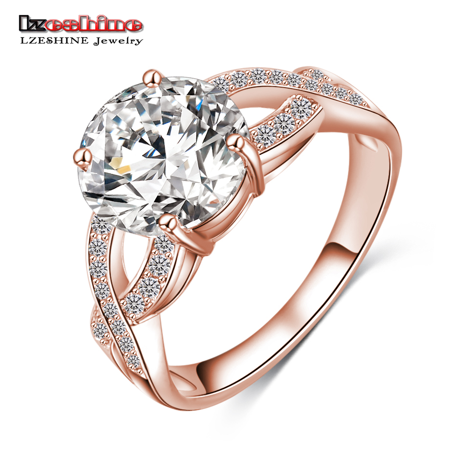 LZESHINE Free Unique Design Hollow Gold/Silver Color Fashion Punk Women Rings Jewelry Clear AAA Zircon CRI0013