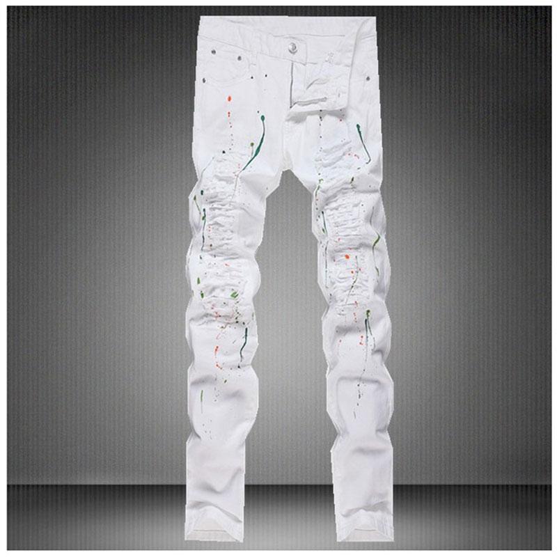 Slim Fit Men Pencil Pants Ripped Design Denim Jeans Nailing hole Trousers Fashion Rivet Biker Skinny Jeans Long Pants size 30-36