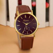 Essential 7 Color New Unisex Leather Band Analog Quartz WristWatch Jewelry Women Dress Watches