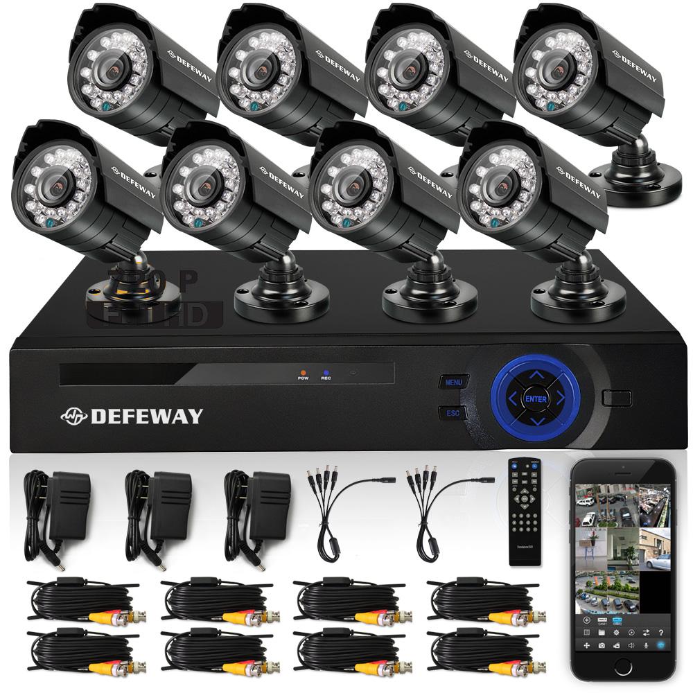 DEFEWAY HD 8CH CCTV System 1080P DVR 8PCS 720P 1200TVL IR Outdoor Video Surveillance Security Camera System 8 channel CCTV Kit(China (Mainland))