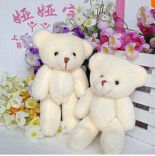 24 pcs free shipping 12CM plush stuffed toy cartoon joint bear bouquet packaging material joint mini teddy bear beige color(China (Mainland))