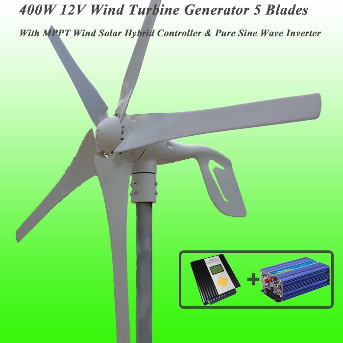 Great Discount 5 Blades 400W 12V Wind Turbine Generator With MPPT Wind Solar Hybrid Controller & 1KW Pure Sine Wave Inverter(China (Mainland))