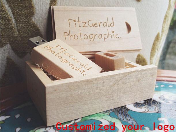 Wedding Wooden usb gift,Natural Maple Personalized DIY LOGO usb 2.0 memory flash stick (30 pcs free logo fee) 4GB to 128GB(China (Mainland))