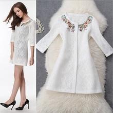 2015 Autumn Winter European New Fashion coat Ladies Brand Thin section Flower hand Beading Coat Openwork lace coat 5Ef3(China (Mainland))