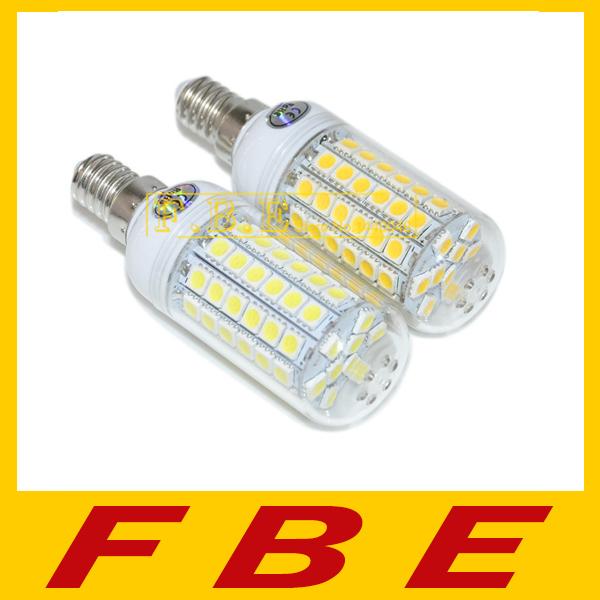 High brightness 110V/220V-240V 69LED SMD 5050 e14 led bulb,5050smd 15W LED corn lamp Warm white/white SMD 5050 chandelier light(China (Mainland))