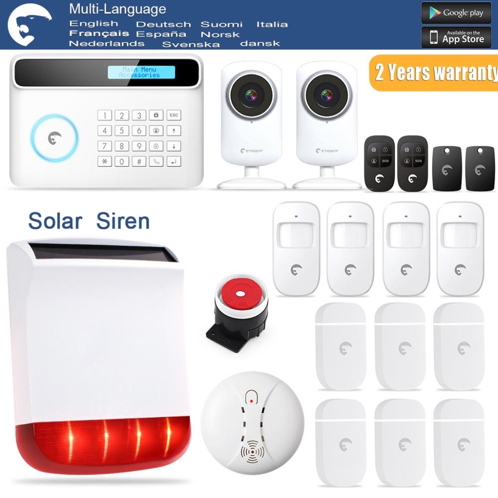 S4 Solar Outdoor Siren eTIGER GSM/PSTN Burglar Alarm System for Home/Office 2x WiFi Network Camera(China (Mainland))
