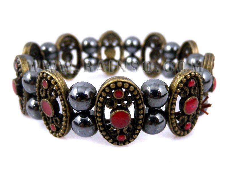 Free Shipping Rainso Promotion Wholesale Magnetic Hematite Bracelet Hematite Jewelry Wraps For Women OHB-596R 5pcs/lot(China (Mainland))