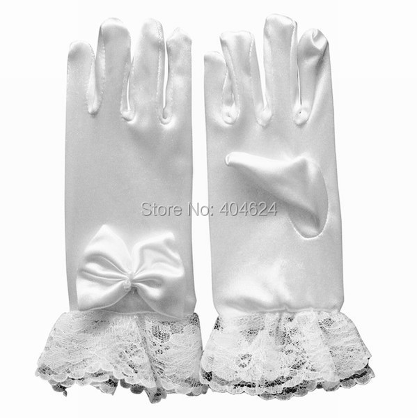 New Hot Wrist Lace Flower Kids Gloves With Finger Bow-knot White Flower Girls Gloves Children Princess Dress Costume Accessories(China (Mainland))