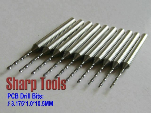 Efficient 10pcs/Lot 3.175*1.0*10.5MM PCB Drill CNC, Carbide Router Bits, Twist Drill Needle, Micro Kit Cutters for SMT, Board