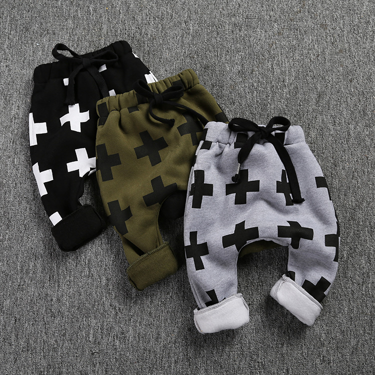 Winter green/gray/black Boys Pants Warm Plus velvet Cross Printed Trousers Thicken Harem Pants Child Trousers Baby Clothes(China (Mainland))
