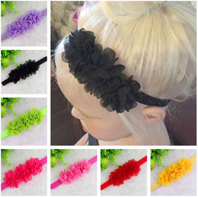 Baby Chiffon 3 Flower Headband Girls Lace Headband Infant Knitting Elastic Hair Band Baby Hair Accessories W001(China (Mainland))