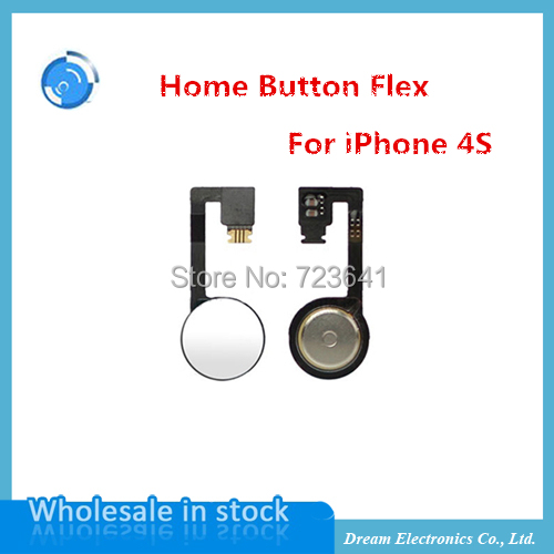 10pcs/lot High Quality Home Button Flex Cable For iPhone 4s Replacement Part Home Button Ribbon Flex Cable free shipping