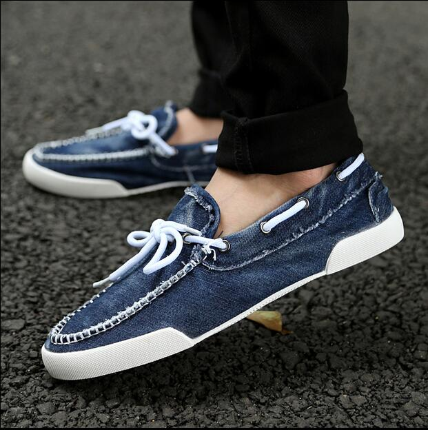 Denim shoes 2016 new arrival men's fashion breathable comfortable loose-fitting lace - up shoes spring summer men's clothing(China (Mainland))