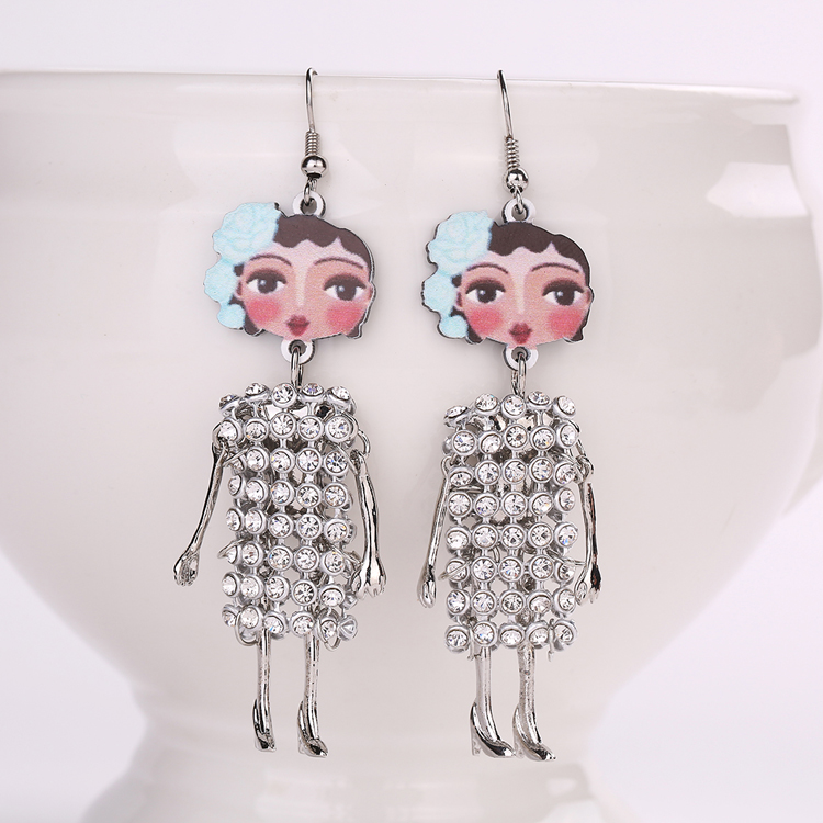 The new spring and summer fashion doll hot selling jewelry earrings jewelry free cute baby girl four color earrings ear hook(China (Mainland))