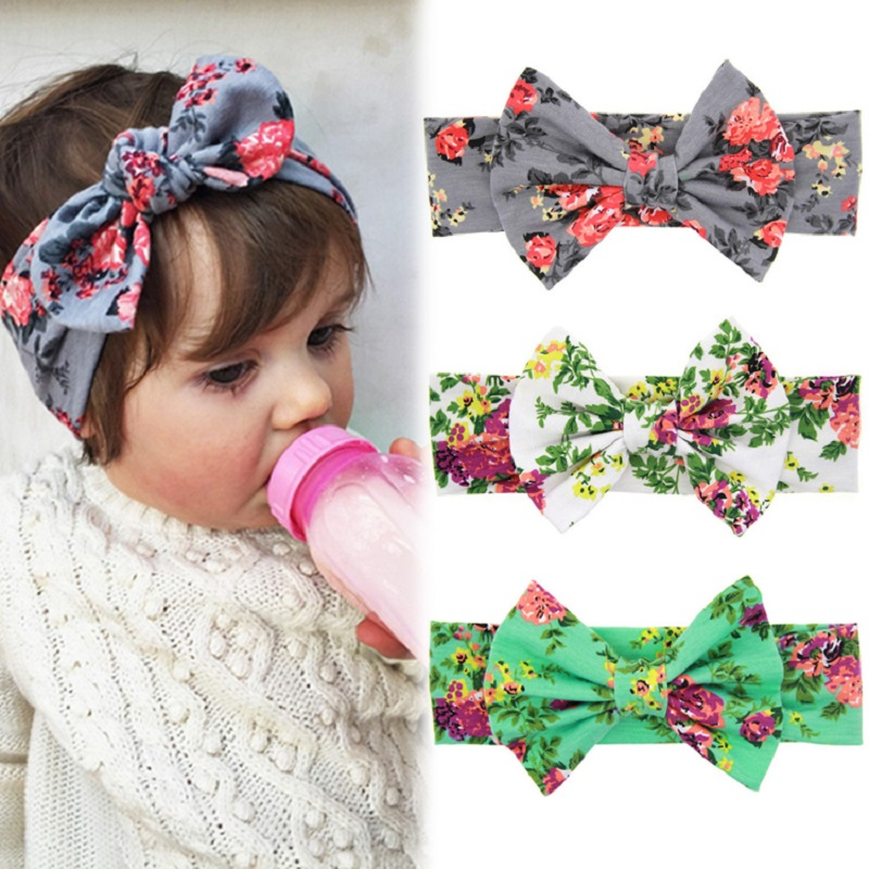 1 PCS Baby Kids Girl Children Toddler Infant Print Flower Floral Bow Hairband Turban Knot Rabbit Headband Hair Band Accessories(China (Mainland))