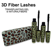 1Set=2Pcs Wild Leopard Natural Fiber eyelash & 3D Transplanting MASCARA Gel makeup Love Alpha waterproof double rimel maquiagem
